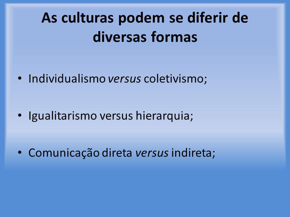 As culturas podem se diferir de diversas formas Individualismo versus coletivismo; Igualitarismo versus hierarquia; Comunicação direta versus indireta