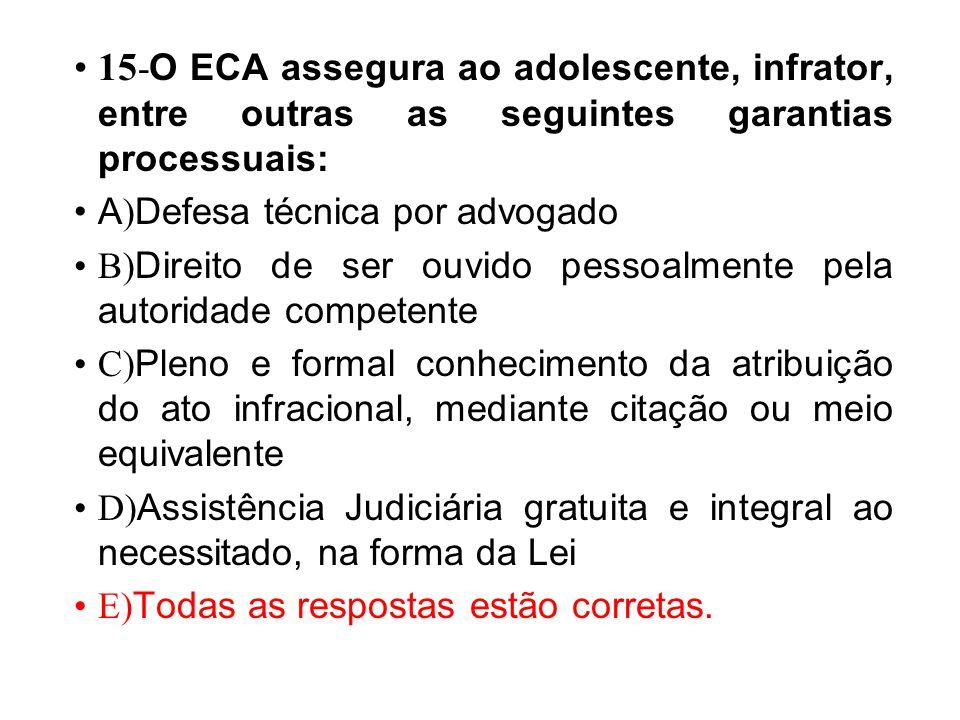 15 - O ECA assegura ao adolescente, infrator, entre outras as seguintes garantias processuais: A ) Defesa técnica por advogado B) Direito de ser ouvid