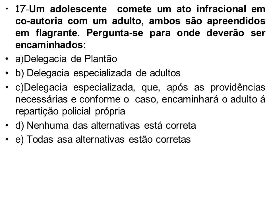16- O adolescente apreendido por força de ordem judicial será encaminhado desde logo: A)A autoridade policial (art.171 ECA) B)A autoridade judiciária