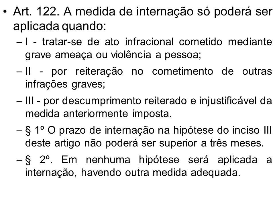 24 - A medida de internação só poderá ser aplicada: a) por descumprimento reiterado e injustificável de medida anteriormente imposta b ) Tratar-se de