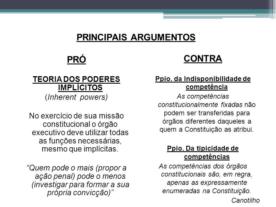 PRINCIPAIS ARGUMENTOS PRÓ TEORIA DOS PODERES IMPLÍCITOS (Inherent powers) No exercício de sua missão constitucional o órgão executivo deve utilizar to