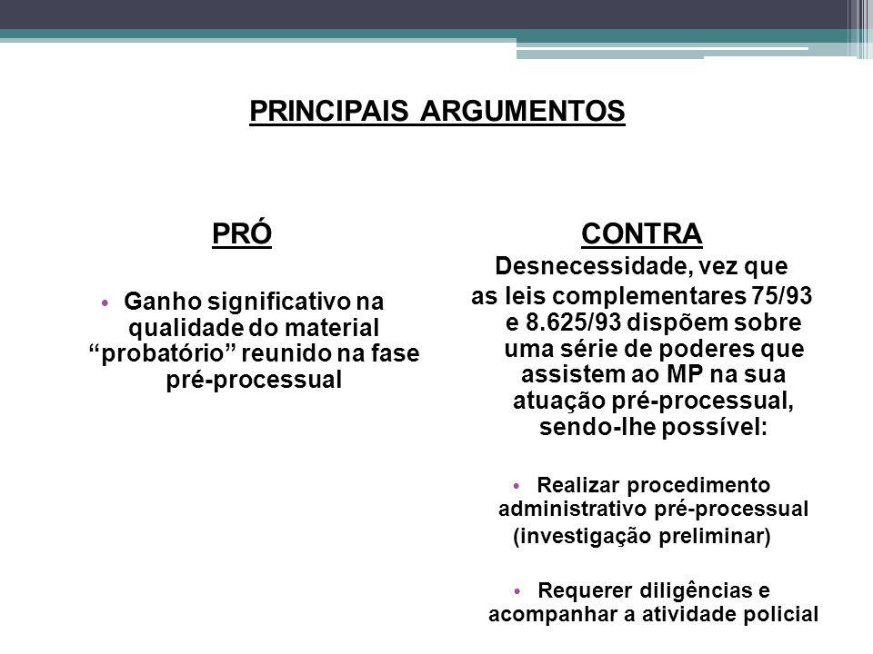 """PRINCIPAIS ARGUMENTOS PRÓ Ganho significativo na qualidade do material """"probatório"""" reunido na fase pré-processual CONTRA Desnecessidade, vez que as l"""