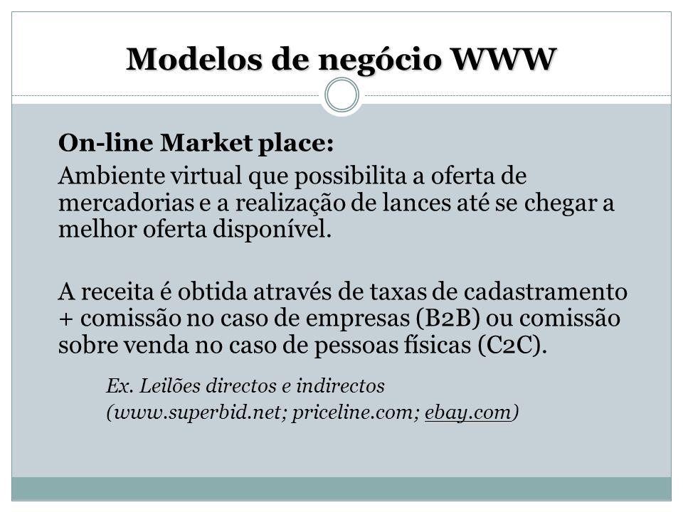 Modelos de negócio WWW On-line Market place: Ambiente virtual que possibilita a oferta de mercadorias e a realização de lances até se chegar a melhor