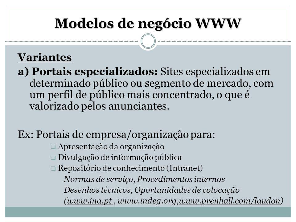 Modelos de negócio WWW Variantes a) Portais especializados: Sites especializados em determinado público ou segmento de mercado, com um perfil de públi