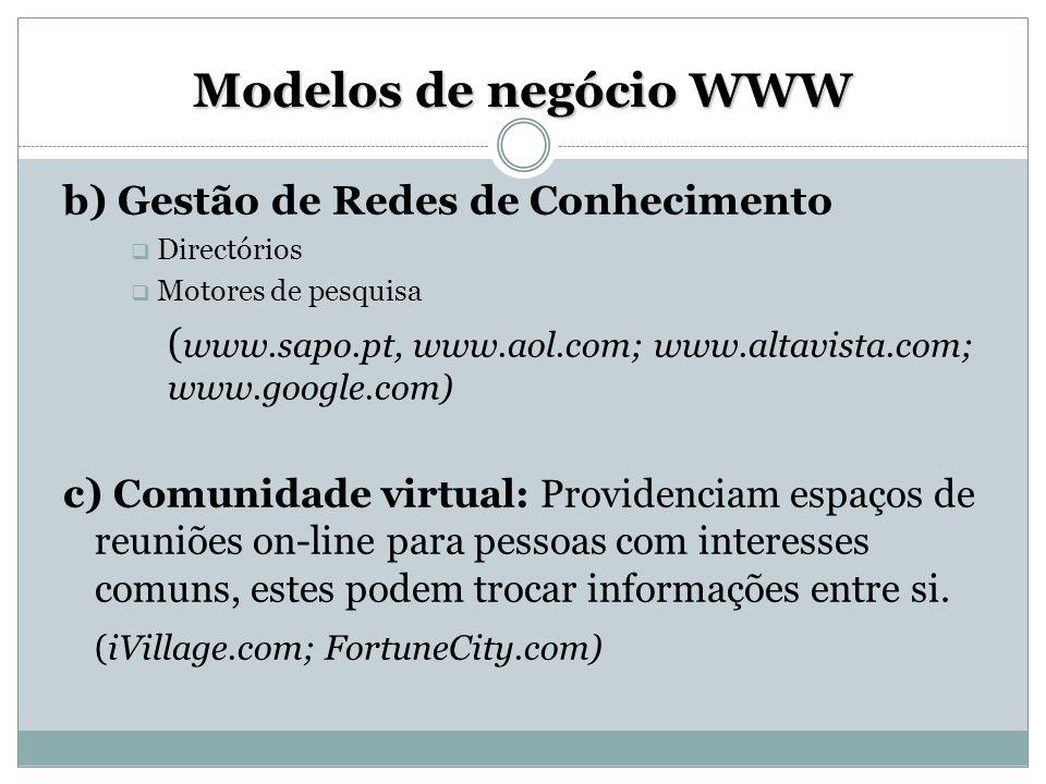 Modelos de negócio WWW b) Gestão de Redes de Conhecimento  Directórios  Motores de pesquisa ( www.sapo.pt, www.aol.com; www.altavista.com; www.googl