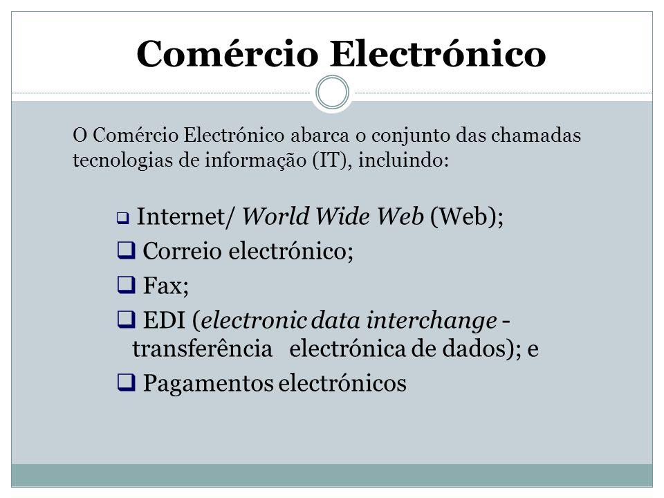 Comércio Electrónico O Comércio Electrónico abarca o conjunto das chamadas tecnologias de informação (IT), incluindo:  Internet/ World Wide Web (Web)