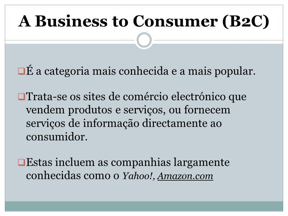 A Business to Consumer (B2C)  É a categoria mais conhecida e a mais popular.  Trata-se os sites de comércio electrónico que vendem produtos e serviç