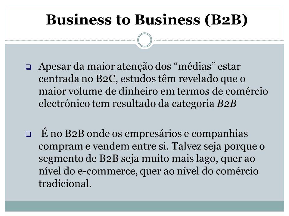 """Business to Business (B2B)  Apesar da maior atenção dos """"médias"""" estar centrada no B2C, estudos têm revelado que o maior volume de dinheiro em termos"""