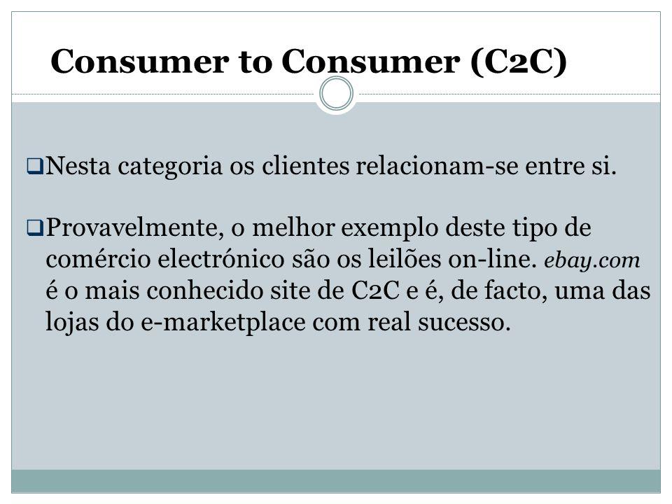 Consumer to Consumer (C2C)  Nesta categoria os clientes relacionam-se entre si.  Provavelmente, o melhor exemplo deste tipo de comércio electrónico