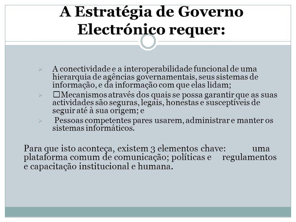A Estratégia de Governo Electrónico requer:  A conectividade e a interoperabilidade funcional de uma hierarquia de agências governamentais, seus sist