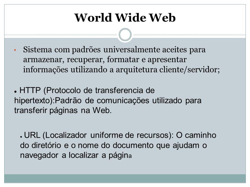 World Wide Web Sistema com padrões universalmente aceites para armazenar, recuperar, formatar e apresentar informações utilizando a arquitetura client