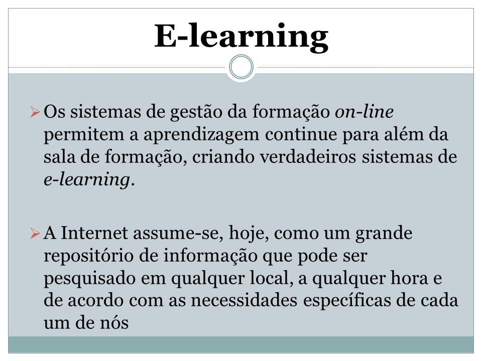 E-learning  Os sistemas de gestão da formação on-line permitem a aprendizagem continue para além da sala de formação, criando verdadeiros sistemas de