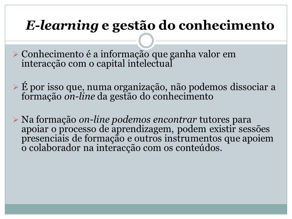 E-learning e gestão do conhecimento  Conhecimento é a informação que ganha valor em interacção com o capital intelectual  É por isso que, numa organ