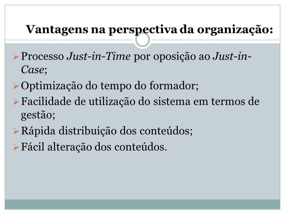 Vantagens na perspectiva da organização:  Processo Just-in-Time por oposição ao Just-in- Case;  Optimização do tempo do formador;  Facilidade de ut