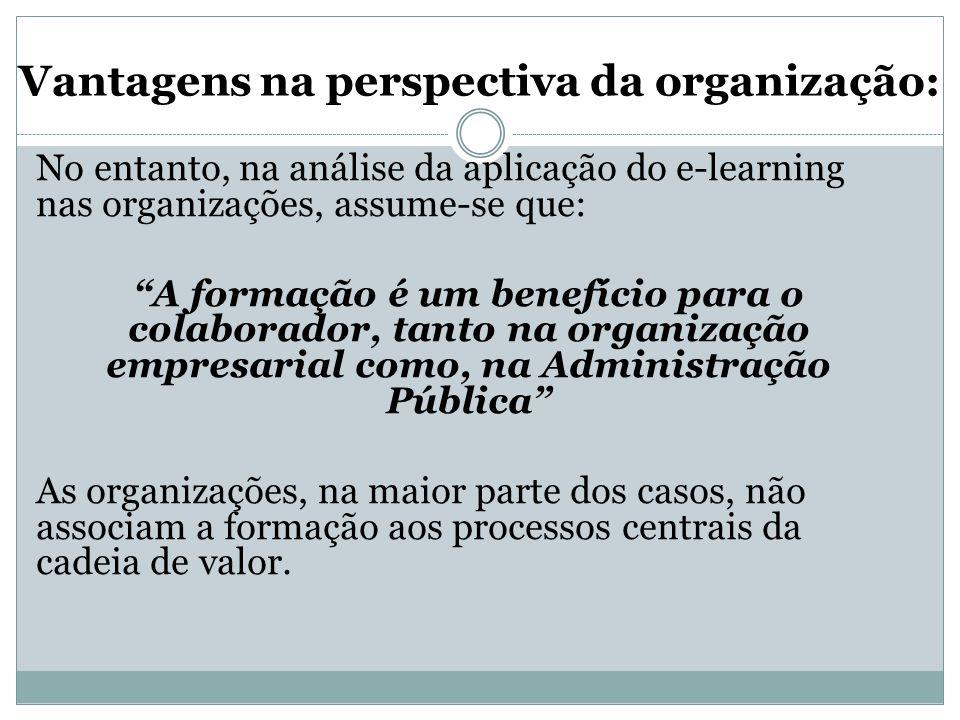 """Vantagens na perspectiva da organização: No entanto, na análise da aplicação do e-learning nas organizações, assume-se que: """"A formação é um benefício"""