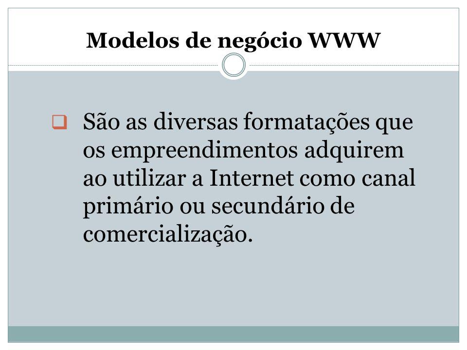 Modelos de negócio WWW  São as diversas formatações que os empreendimentos adquirem ao utilizar a Internet como canal primário ou secundário de comer