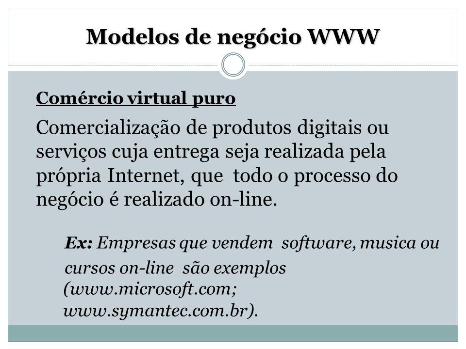 Modelos de negócio WWW Comércio virtual puro Comercialização de produtos digitais ou serviços cuja entrega seja realizada pela própria Internet, que t