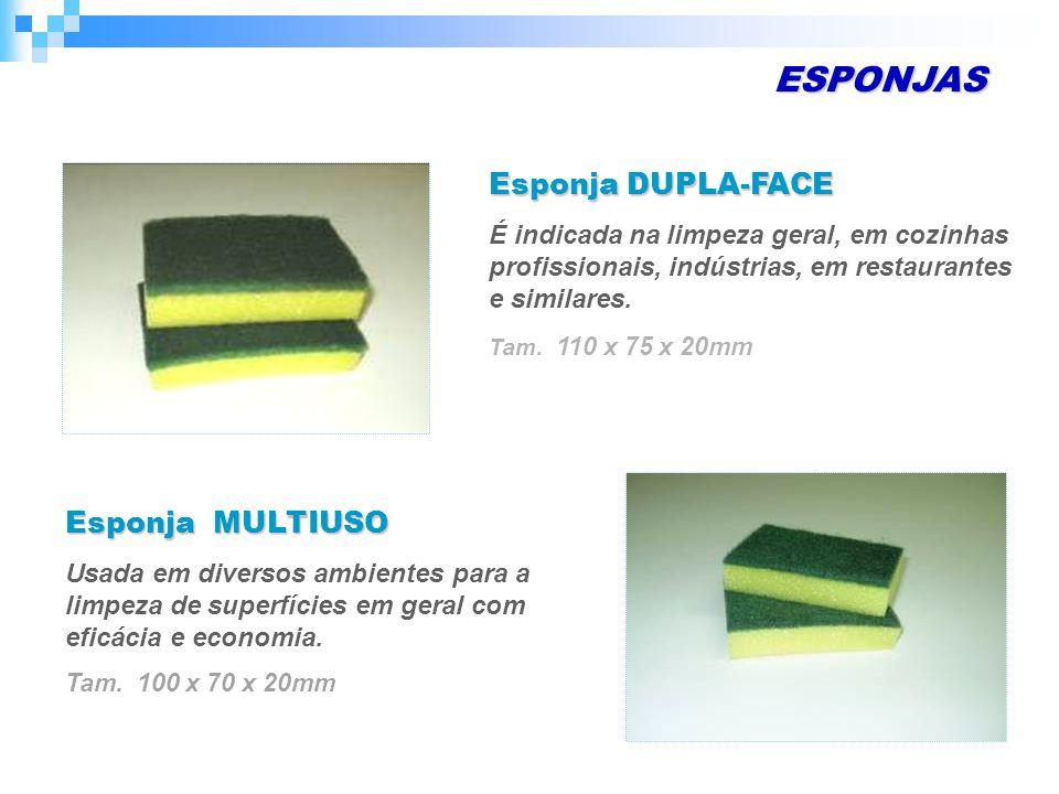 ESPONJAS Esponja DUPLA-FACE É indicada na limpeza geral, em cozinhas profissionais, indústrias, em restaurantes e similares.