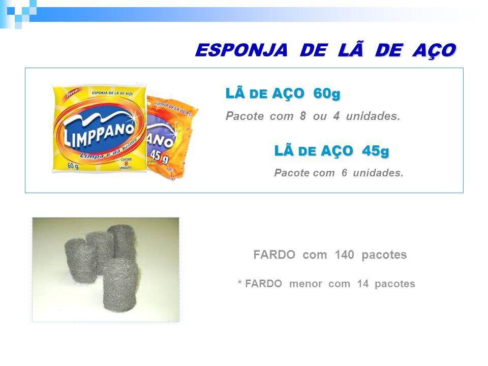 LÃ DE AÇO ESPONJA DE LÃ DE AÇO LÃ DE AÇO 60g Pacote com 8 ou 4 unidades.