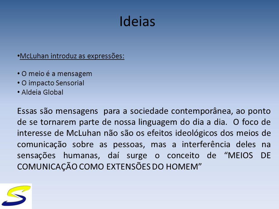 Ideias McLuhan introduz as expressões: O meio é a mensagem O impacto Sensorial Aldeia Global Essas são mensagens para a sociedade contemporânea, ao ponto de se tornarem parte de nossa linguagem do dia a dia.