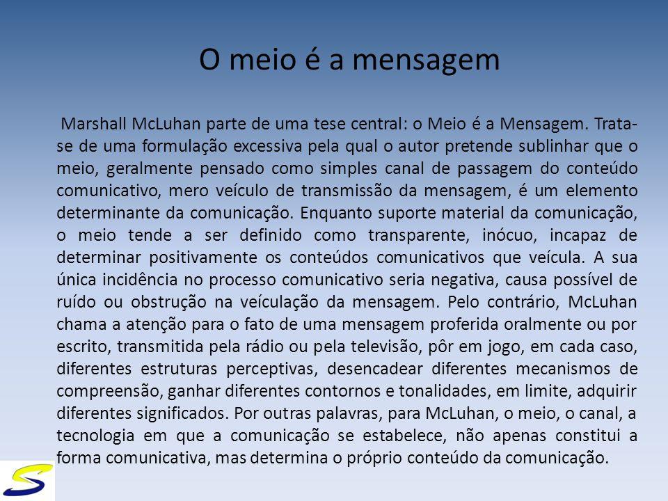 O meio é a mensagem Marshall McLuhan parte de uma tese central: o Meio é a Mensagem.