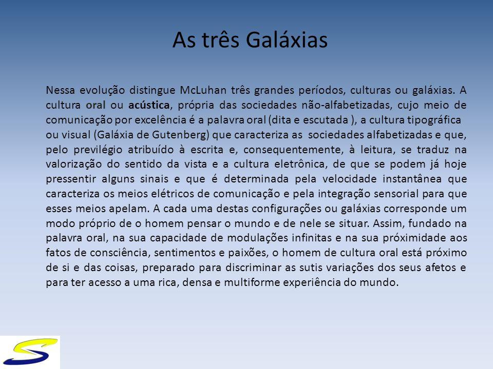 As três Galáxias Nessa evolução distingue McLuhan três grandes períodos, culturas ou galáxias.