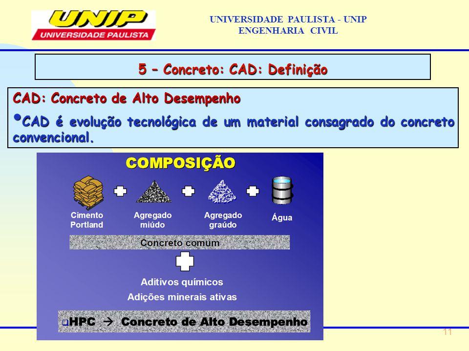 11 CAD: Concreto de Alto Desempenho CAD é evolução tecnológica de um material consagrado do concreto convencional.