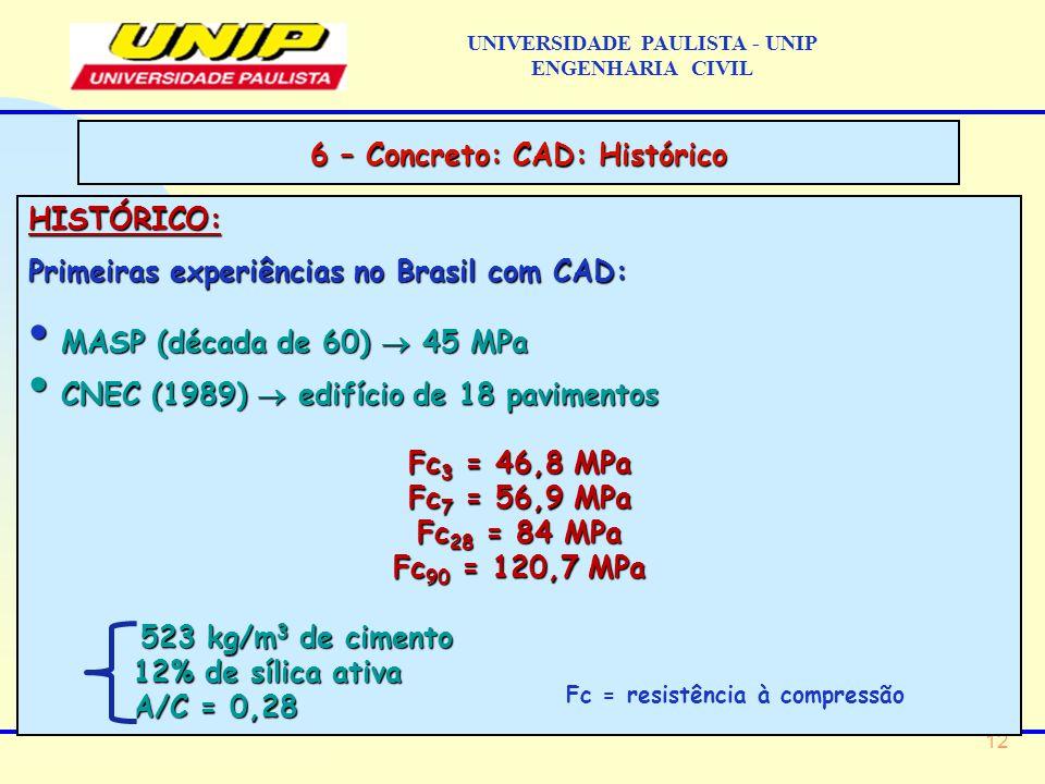 12 HISTÓRICO: Primeiras experiências no Brasil com CAD: MASP (década de 60)  45 MPa MASP (década de 60)  45 MPa CNEC (1989)  edifício de 18 pavimentos CNEC (1989)  edifício de 18 pavimentos Fc 3 = 46,8 MPa Fc 7 = 56,9 MPa Fc 28 = 84 MPa Fc 90 = 120,7 MPa 523 kg/m 3 de cimento 523 kg/m 3 de cimento 12% de sílica ativa A/C = 0,28 6 – Concreto: CAD: Histórico UNIVERSIDADE PAULISTA - UNIP ENGENHARIA CIVIL Fc = resistência à compressão