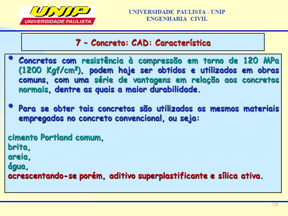 15 Concretos com resistência à compressão em torno de 120 MPa (1200 Kgf/cm 2 ), podem hoje ser obtidos e utilizados em obras comuns, com uma série de vantagens em relação aos concretos normais, dentre as quais a maior durabilidade.