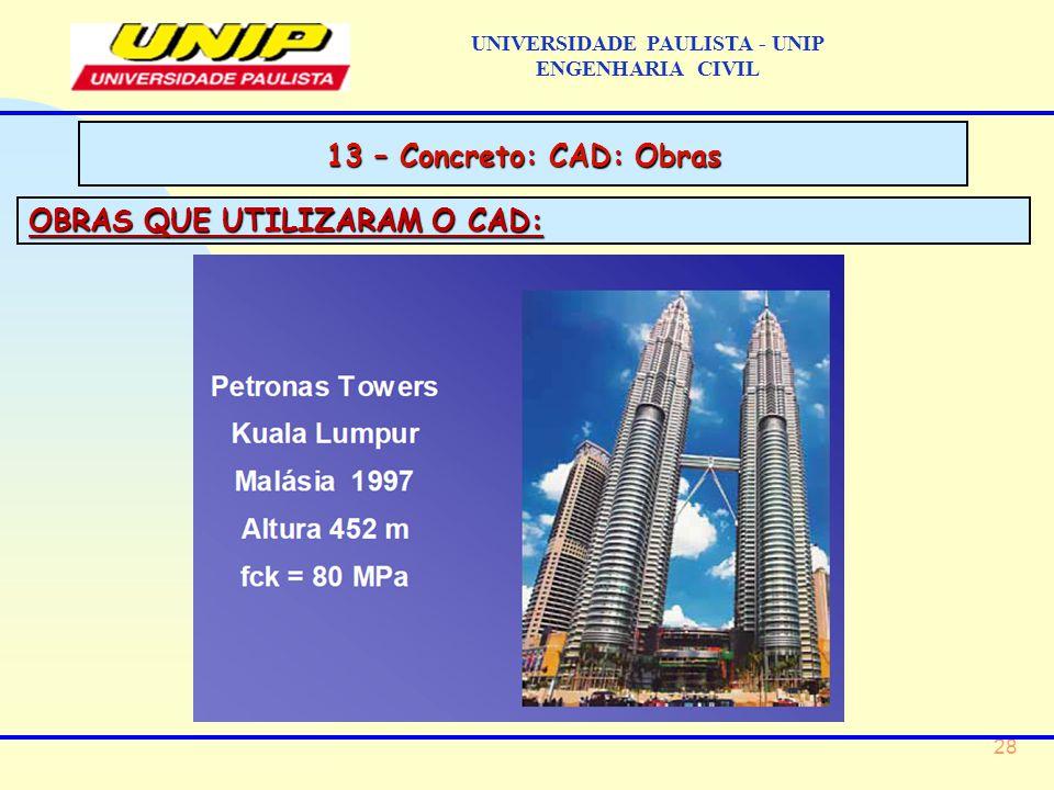 28 OBRAS QUE UTILIZARAM O CAD: 13 – Concreto: CAD: Obras UNIVERSIDADE PAULISTA - UNIP ENGENHARIA CIVIL