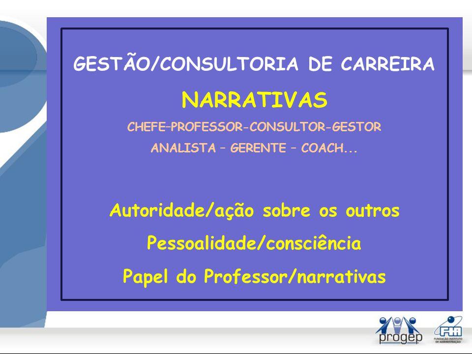 GESTÃO/CONSULTORIA DE CARREIRA NARRATIVAS CHEFE–PROFESSOR-CONSULTOR-GESTOR ANALISTA – GERENTE – COACH...