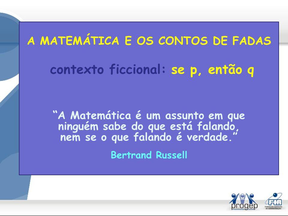A MATEMÁTICA E OS CONTOS DE FADAS unidade lógica Teoria/teorema fábula/mito/moral Coerência interna
