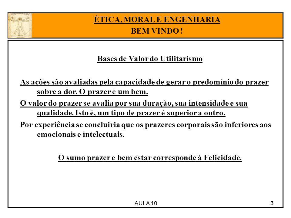 AULA 10 3 Bases de Valor do Utilitarismo As ações são avaliadas pela capacidade de gerar o predomínio do prazer sobre a dor.