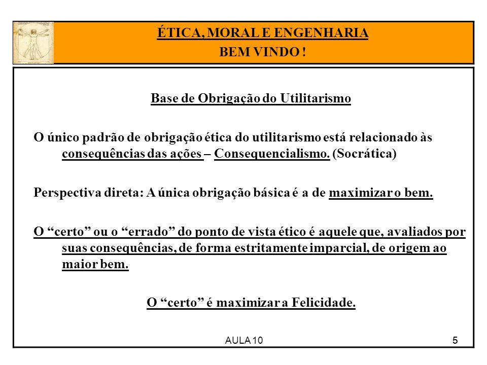 AULA 10 5 Base de Obrigação do Utilitarismo O único padrão de obrigação ética do utilitarismo está relacionado às consequências das ações – Consequencialismo.