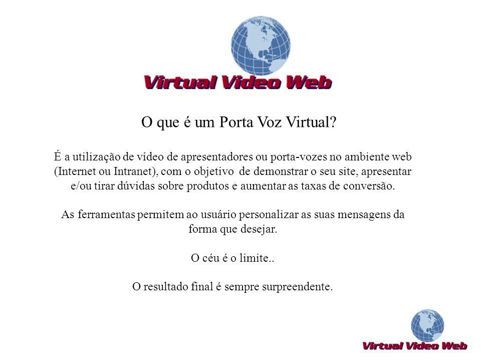 O que é um Porta Voz Virtual? É a utilização de vídeo de apresentadores ou porta-vozes no ambiente web (Internet ou Intranet), com o objetivo de demon