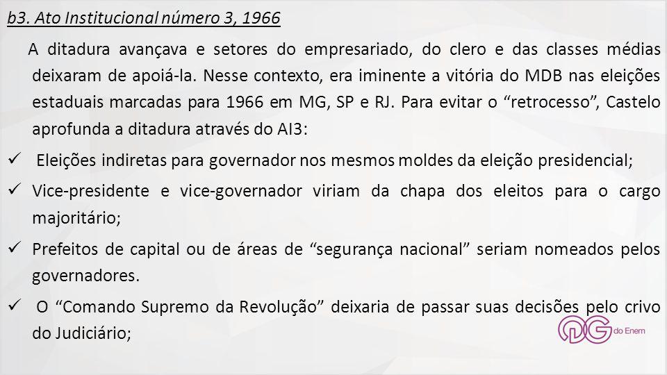 b3. Ato Institucional número 3, 1966 A ditadura avançava e setores do empresariado, do clero e das classes médias deixaram de apoiá-la. Nesse contexto