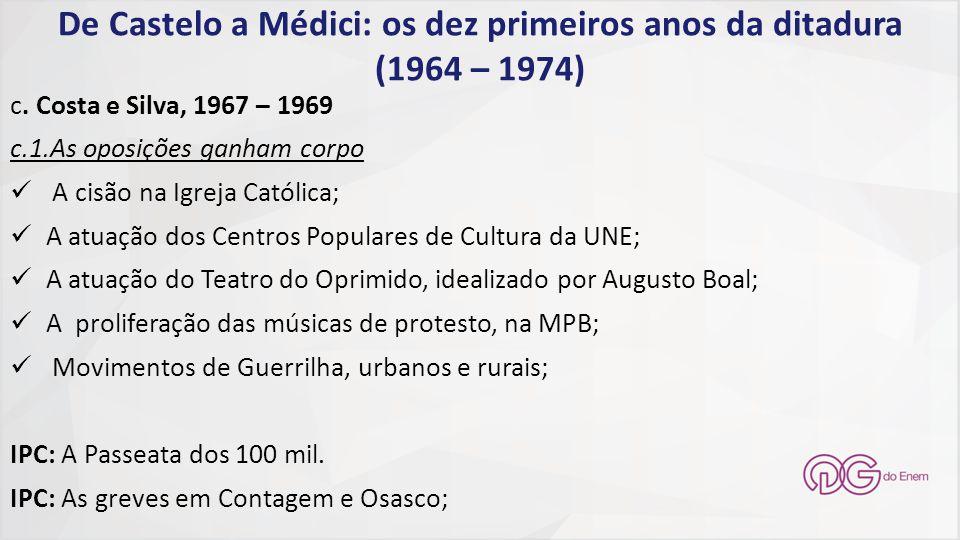 De Castelo a Médici: os dez primeiros anos da ditadura (1964 – 1974) c. Costa e Silva, 1967 – 1969 c.1.As oposições ganham corpo A cisão na Igreja Cat