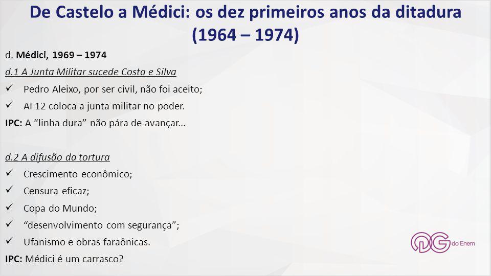 De Castelo a Médici: os dez primeiros anos da ditadura (1964 – 1974) d. Médici, 1969 – 1974 d.1 A Junta Militar sucede Costa e Silva Pedro Aleixo, por