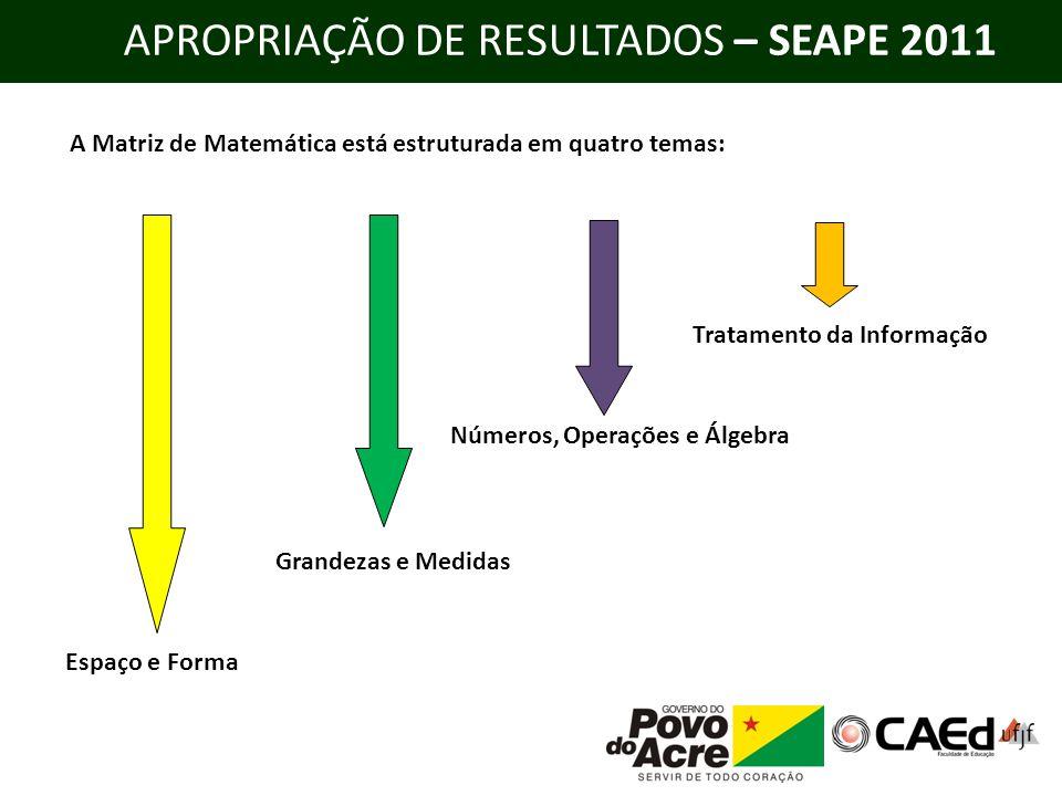 APROPRIAÇÃO DE RESULTADOS – SEAPE 2011 A Matriz de Matemática está estruturada em quatro temas: Espaço e Forma Grandezas e Medidas Números, Operações