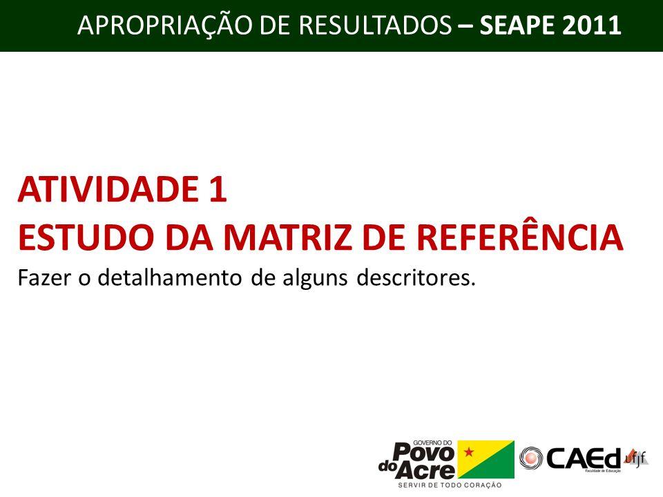 APROPRIAÇÃO DE RESULTADOS – SEAPE 2011 ATIVIDADE 1 ESTUDO DA MATRIZ DE REFERÊNCIA Fazer o detalhamento de alguns descritores.