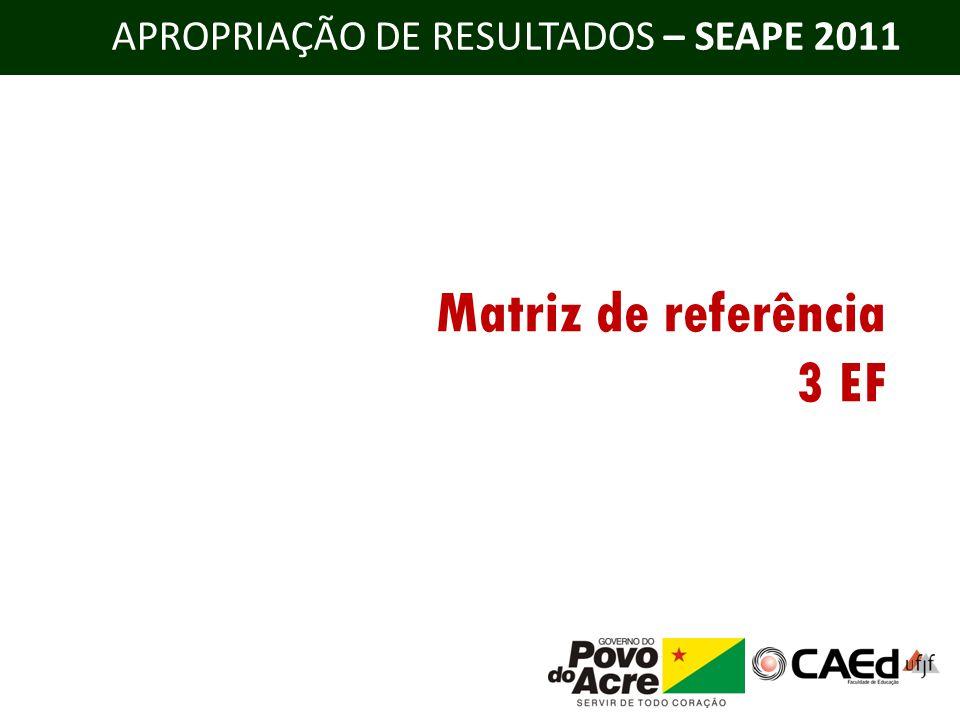 APROPRIAÇÃO DE RESULTADOS – SEAPE 2011 Matriz de referência 3 EF