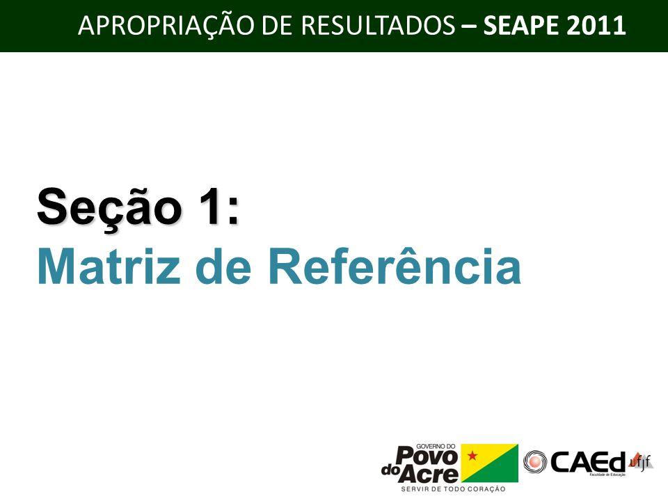 APROPRIAÇÃO DE RESULTADOS – SEAPE 2011 Seção 1: Matriz de Referência