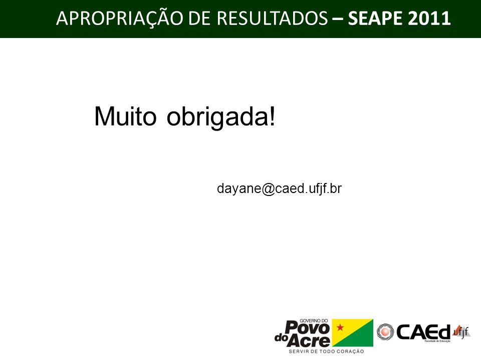APROPRIAÇÃO DE RESULTADOS – SEAPE 2011 Muito obrigada! dayane@caed.ufjf.br