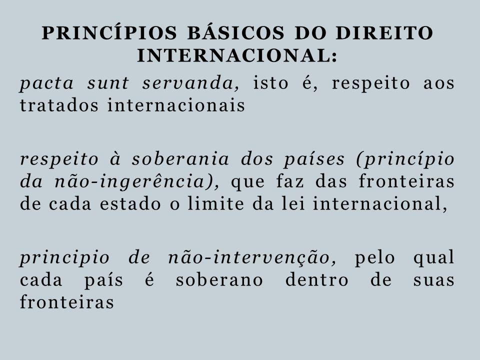 PRINCÍPIOS BÁSICOS DO DIREITO INTERNACIONAL: pacta sunt servanda, isto é, respeito aos tratados internacionais respeito à soberania dos países (princí