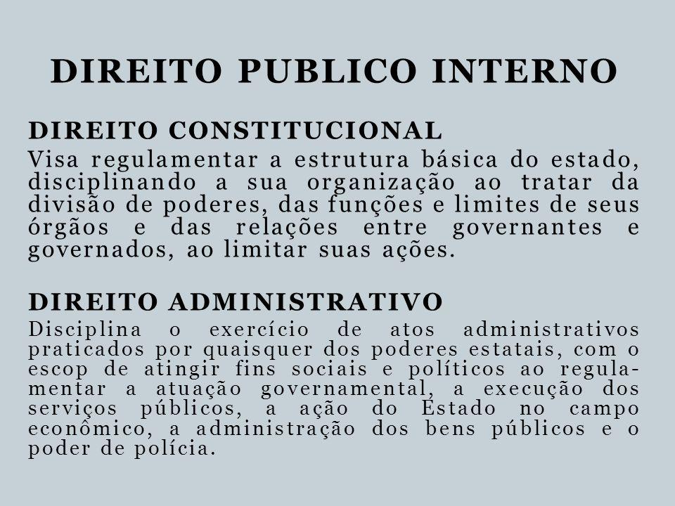 DIREITO PUBLICO INTERNO DIREITO CONSTITUCIONAL Visa regulamentar a estrutura básica do estado, disciplinando a sua organização ao tratar da divisão de