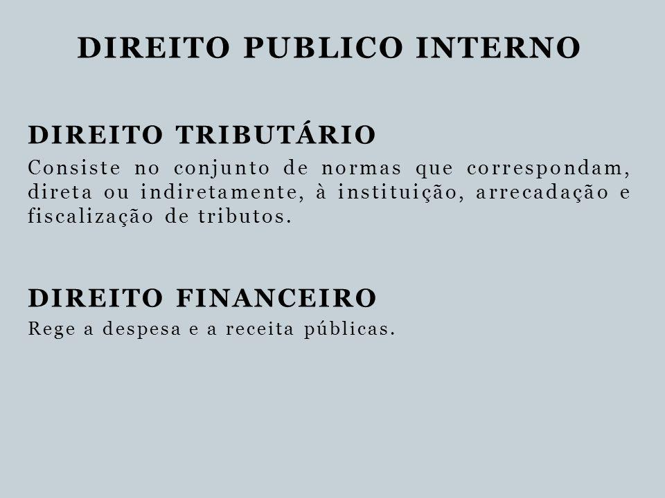 DIREITO PUBLICO INTERNO DIREITO TRIBUTÁRIO Consiste no conjunto de normas que correspondam, direta ou indiretamente, à instituição, arrecadação e fisc