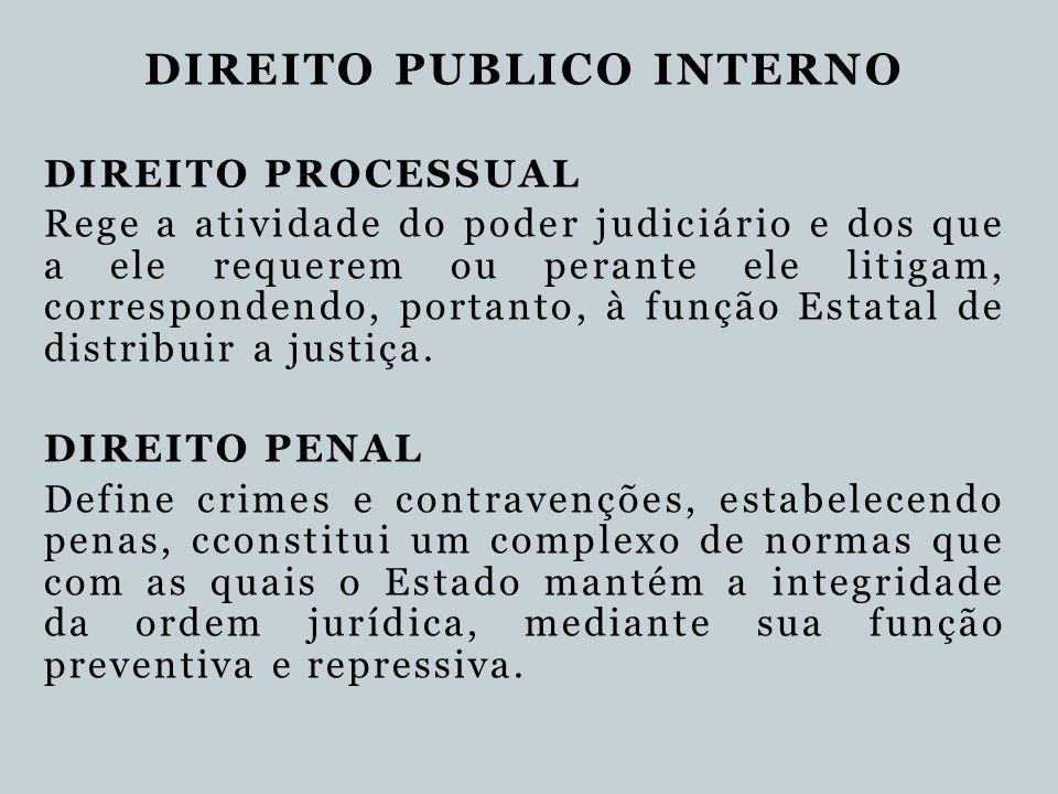 DIREITO PUBLICO INTERNO DIREITO PROCESSUAL Rege a atividade do poder judiciário e dos que a ele requerem ou perante ele litigam, correspondendo, porta