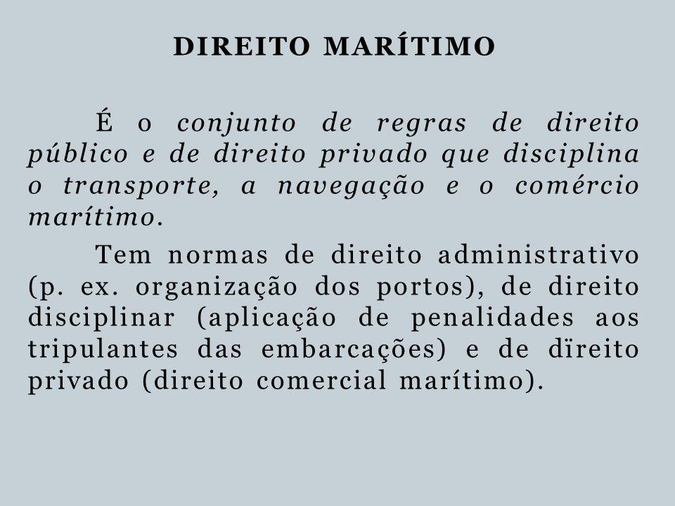 DIREITO MARÍTIMO É o conjunto de regras de direito público e de direito privado que disciplina o transporte, a navegação e o comércio marítimo. Tem no