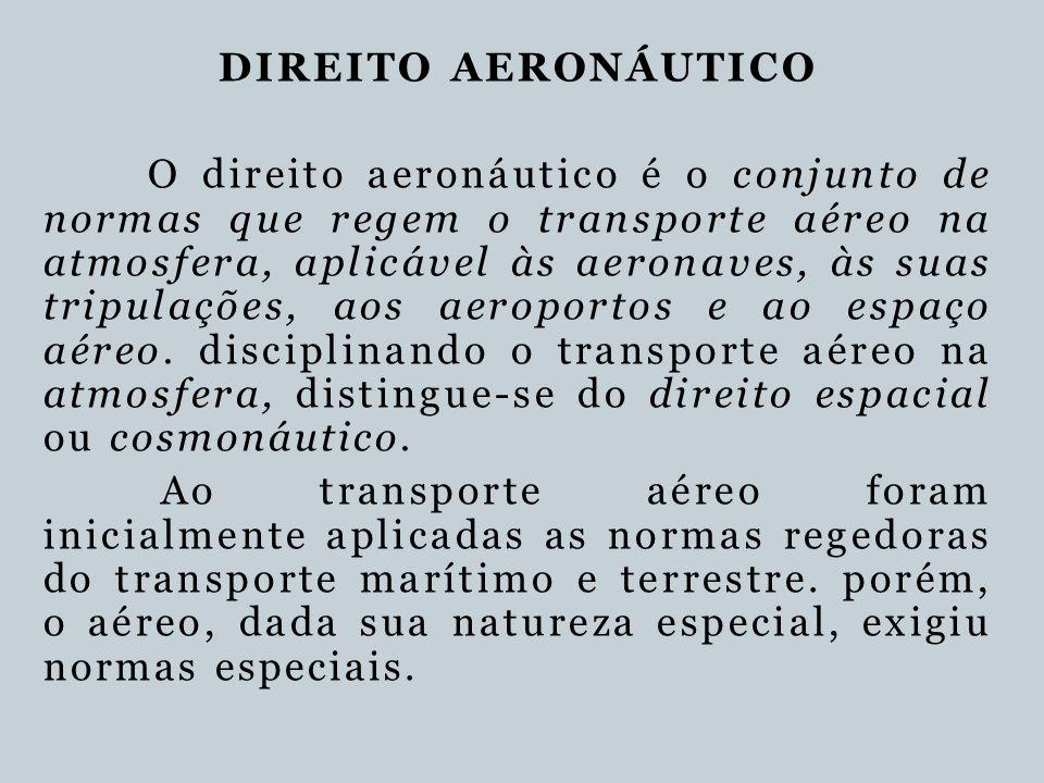 DIREITO AERONÁUTICO O direito aeronáutico é o conjunto de normas que regem o transporte aéreo na atmosfera, aplicável às aeronaves, às suas tripulaçõe