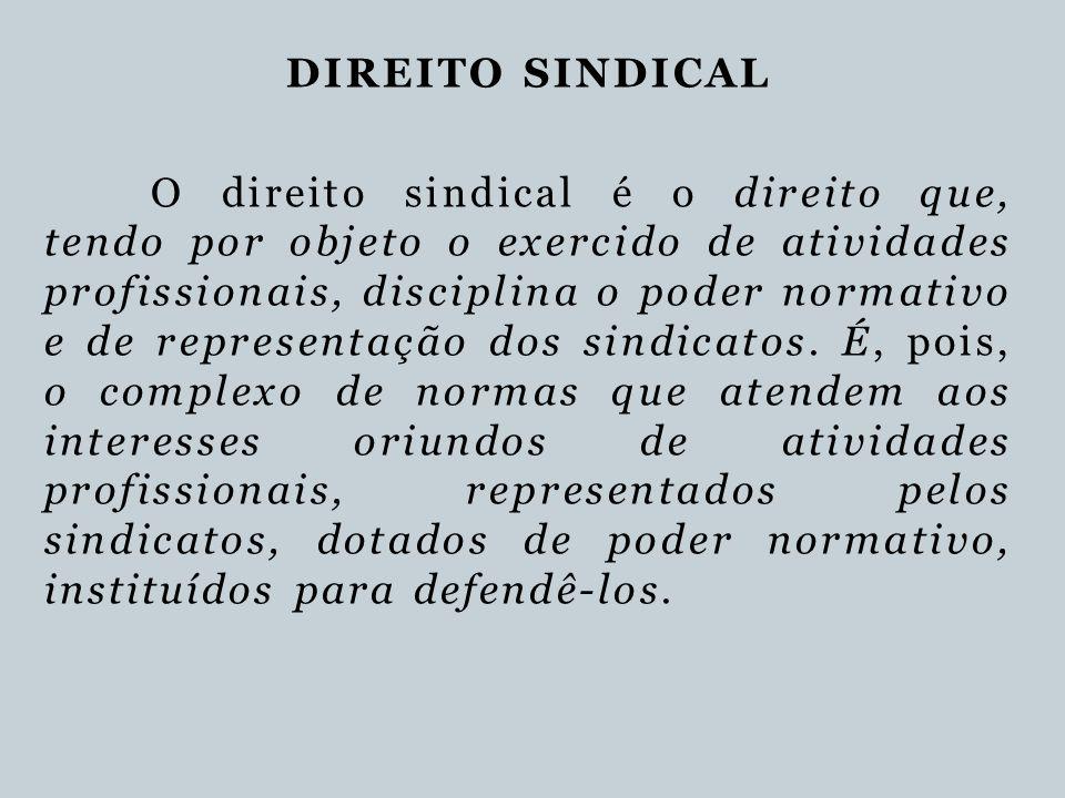 DIREITO SINDICAL O direito sindical é o direito que, tendo por objeto o exercido de atividades profissionais, disciplina o poder normativo e de repres